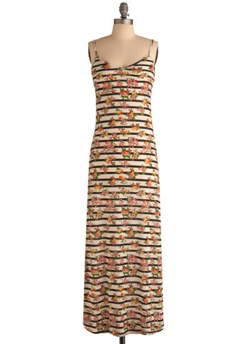 Rule Breaker Maxi Dress - Cream, Black, Pink, Multi, Stripes, Floral, Casual, Maxi, Spaghetti Straps, Spring, Summer, Long, International Designer