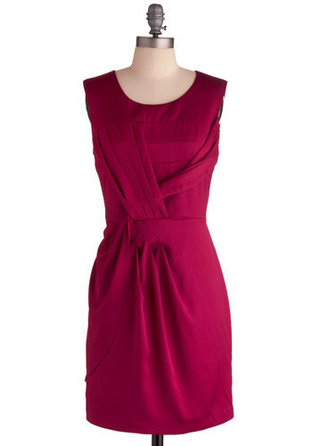 Rioja Dress - Pink, Solid, Pleats, Wedding, Party, Sheath / Shift, Sleeveless, Mid-length