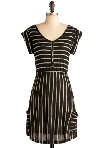 Like in Classic Movies Dress - Black, Grey, Stripes, Casual, A-line, Cap Sleeves, Short