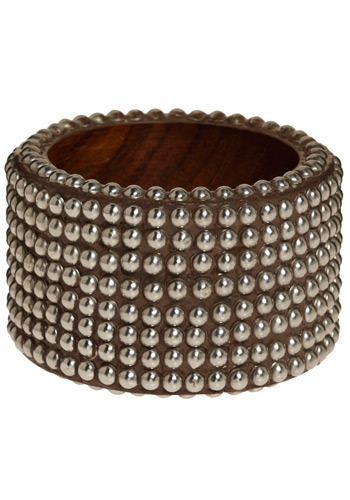 Refined Rocker Bangle - Brown, Silver, Studs, Casual