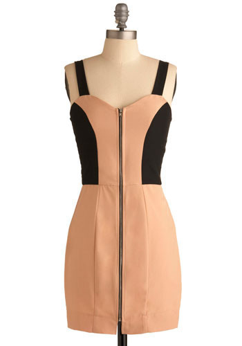 Peaches and Dream Dress - Cream, Black, Exposed zipper, Party, Sheath / Shift, Tank top (2 thick straps), Short