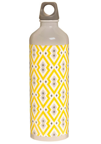 Thirst for Design Water Bottle - Yellow, White, Grey, Vintage Inspired