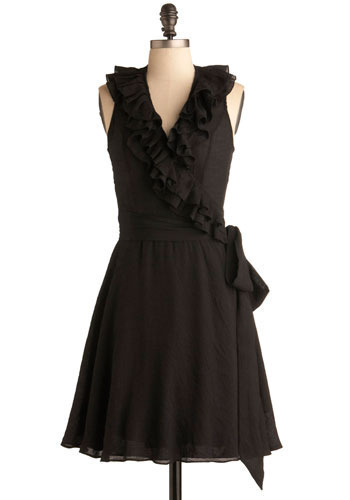 Tapas Bar Dress - Black, Solid, Ruffles, Casual, A-line, Sleeveless, Mid-length