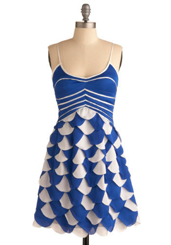 Synchronized Style Dress - Blue, White, Scallops, Casual, A-line, Spaghetti Straps, Short, Tiered