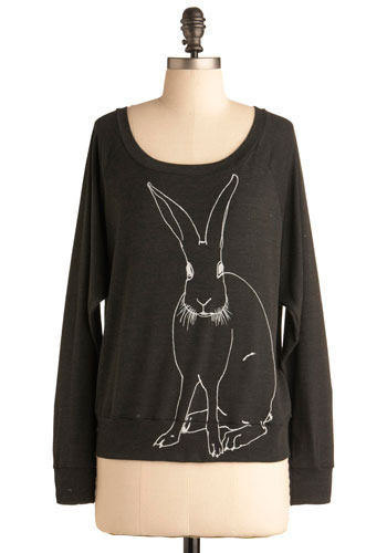 On the Main Sketch Top in Bunny - Black, Grey, Print with Animals, Long Sleeve, Mid-length