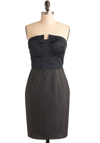 Make a Point Dress - Grey, Wedding, Party, Sheath / Shift, Strapless, Mid-length
