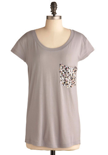 Everyday Glamour Tee by Jack by BB Dakota - Grey, Sequins, Casual, Multi, Solid, Pockets, Party, Work, Cap Sleeves, Mid-length