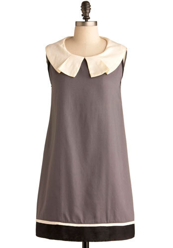 Quaint of the Art Dress by Annie Greenabelle - Grey, Tan / Cream, Black, Pleats, Casual, Sheath / Shift, Sleeveless, Short