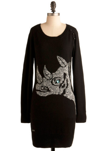 Rhinostone Dress - Black, Grey, Print with Animals, Beads, Casual, Long Sleeve, Fall, Winter, Long