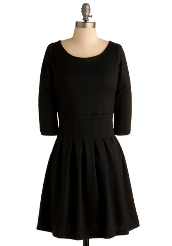 In Com-Pleat Accord Dress - Black, Solid, Pleats, Casual, A-line, 3/4 Sleeve, Mid-length, Scoop