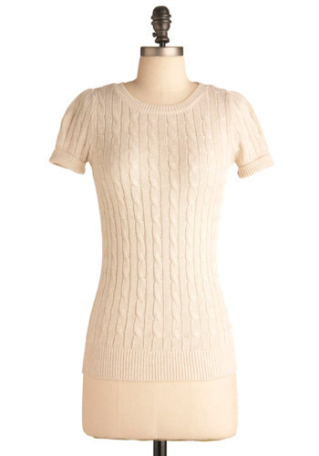 Cable Knit Chemistry Top in Ivory - White, Solid, Knitted, Casual, Short Sleeves, Fall, Winter, Mid-length