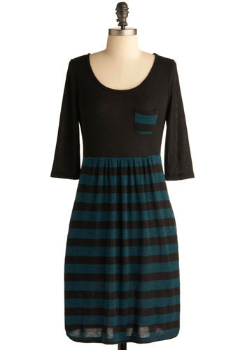 Long Weekend Dress - Green, Black, Stripes, Casual, A-line, 3/4 Sleeve, Mid-length