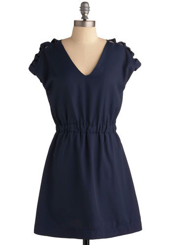 What's Your Triangle Dress - Blue, Solid, Bows, Casual, A-line, Short Sleeves, Short