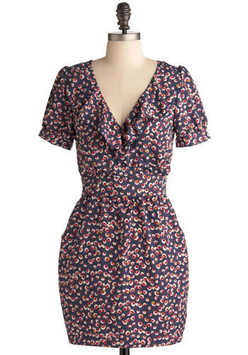 Sterling Style Dress - Red, Blue, Cream, Floral, Casual, Sheath / Shift, Short Sleeves, Spring, Summer, Short