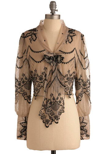 Fanciful Phenomenon Top by Darling - Cream, Black, Floral, Bows, Embroidery, Party, Casual, Long Sleeve, Fall, Short