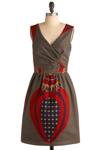 The Well-Wrought Dress - Red, Blue, Cream, Print, Casual, A-line, Sleeveless, Mid-length