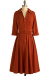 Cinnamon and Cloves Dress by Bettie Page - Orange, Solid, Buttons, Pleats, Casual, A-line, Shirt Dress, 3/4 Sleeve, Spring, Summer, Fall, Long