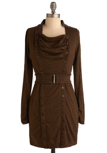 Modern Day Pioneer Dress - Brown, Solid, Buttons, Casual, Shift, Long Sleeve, Mid-length