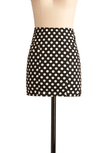 Doing the Polka Dot Skirt by Mink Pink - Black, White, Polka Dots, Casual, Sheath / Shift, Short