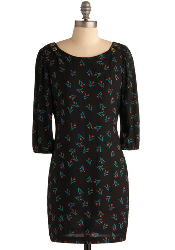 Tulip Service Dress - Black, Blue, Purple, Pink, Floral, Casual, Shift, 3/4 Sleeve, Short