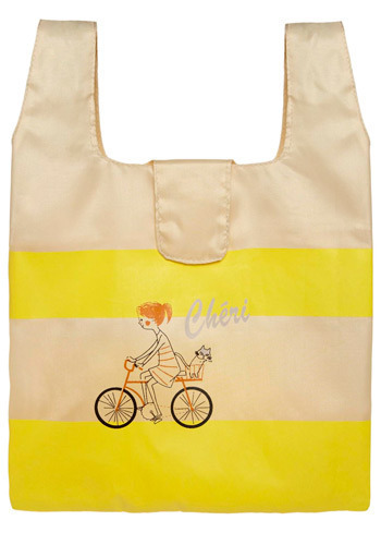 La Cycliste Lunch Bag by Shinzi Katoh - Yellow, Cream, Stripes, Novelty Print