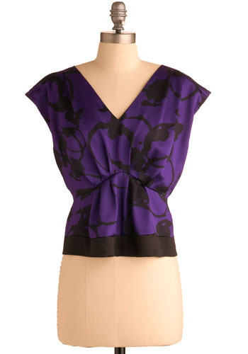 Art Room Flirtation Top - Purple, Black, Cutout, Exposed zipper, Formal, Cap Sleeves, Short