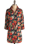 Regent's Park Top - Red, Blue, Multi, Floral, Casual, 3/4 Sleeve, Spring, Summer, Fall, Long