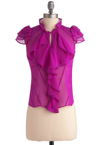 Second Interview Top - Pink, Solid, Cutout, Ruffles, Tiered, Work, Casual, Cap Sleeves, Spring, Summer, Short