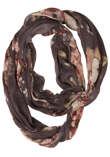 Floral Exam Scarf - Grey, Multi, Floral, Casual