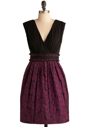 Budding Talent Dress by Max and Cleo - Purple, Black, Floral, Pleats, Wedding, Party, A-line, Twofer, Sleeveless, Mid-length