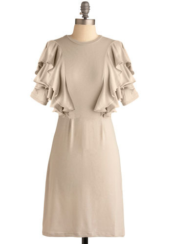 Party in the Front Dress in Dove Grey - Grey, Solid, Ruffles, Tiered, Casual, A-line, Short Sleeves, Spring, Summer, Mid-length