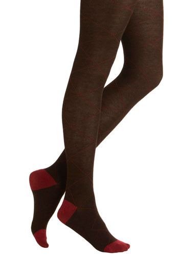 Beguile and Argyle Tights - Brown, Red, Argyle, Casual