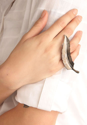 Fingers of a Feather Ring - Silver, Solid, Casual, Feathers