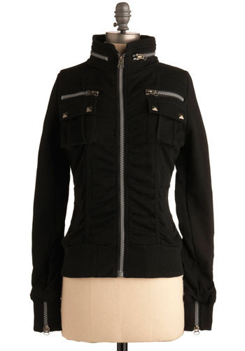 Get With Zip Jacket in Blacktop - Black, Solid, Exposed zipper, Casual, Urban, Long Sleeve, Fall, Short
