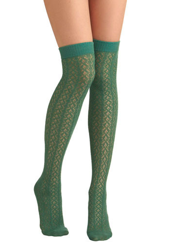 A Leg Up Socks in Leafy Green - Green, Cutout, Knitted, Casual