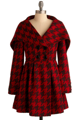 Houndstooth of the Baskervilles Coat by Knitted Dove - Red, Black, Houndstooth, Buttons, Pleats, Formal, Urban, Long Sleeve, Winter, Long