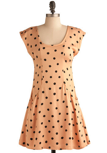 Kittenish Dress by Motel - Orange, Cream, Black, Polka Dots, Cutout, Casual, A-line, Cap Sleeves, Short