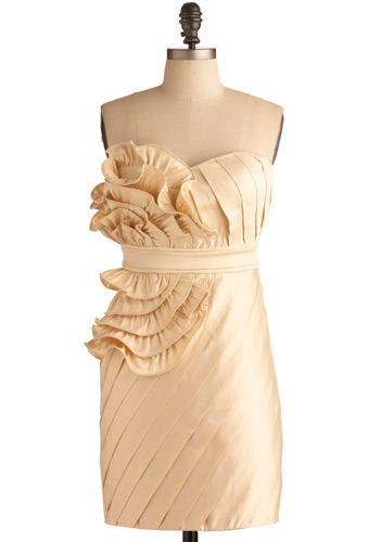Whipped Butter Dress - Cream, Solid, Pleats, Ruffles, Special Occasion, Prom, Wedding, Party, Shift, Strapless, Short