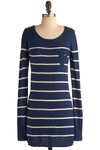 Weather or Yacht Dress - Blue, White, Stripes, Pockets, Casual, Long Sleeve, Fall, Winter, Short