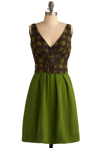 Lindy Hop Dress by Eva Franco - Green, Brown, Print, Party, Casual, A-line, Sleeveless, Mid-length