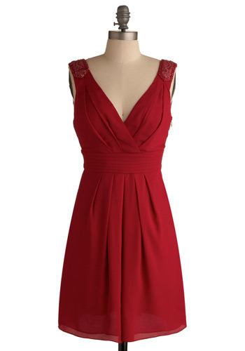 RSVP Dress - Red, Solid, Beads, Pleats, Wedding, Party, A-line, Sleeveless, Mid-length
