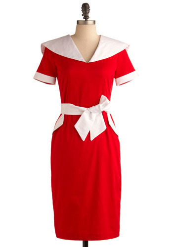 Just Thinkin' about Tomorrow Dress - Red, White, Bows, Casual, Sheath / Shift, Short Sleeves, Long