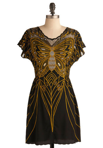 Resplendent Rarity Dress by Sugarhill Boutique - Yellow, Tan, Black, Print with Animals, Embroidery, Casual, A-line, Short Sleeves, Mid-length, International Designer
