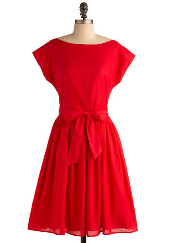 Red-y or Not Dress - Red, Solid, Wedding, Party, A-line, Cap Sleeves, Long