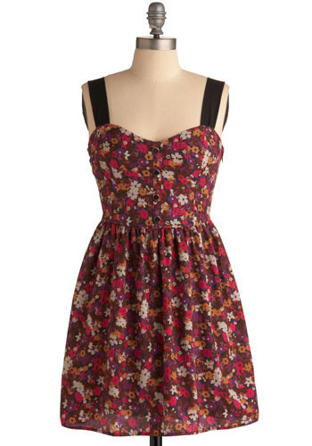 Fire Escape Flowers Dress - Red, Multi, Floral, Cutout, Casual, Empire, Tank top (2 thick straps), Spring, Summer, Short
