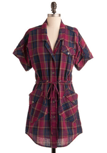 Antioxidant Tunic by Gentle Fawn - Blue, Purple, Pink, Plaid, Casual, Short Sleeves, Fall, Winter, Long