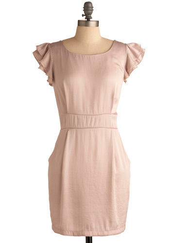 Upscale Restaurant Dress - Pink, Solid, Ruffles, Wedding, Work, Shift, Short Sleeves, Mid-length
