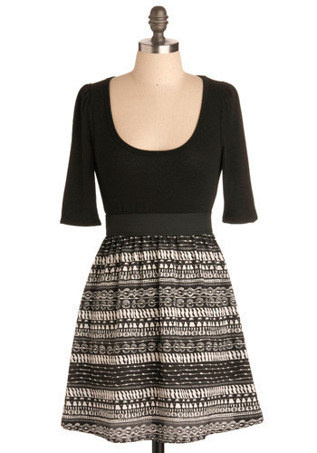 Musical Stairs Dress - Black, White, Print, Casual, A-line, Twofer, 3/4 Sleeve, Short