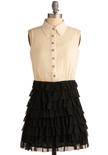 Photobooth Kisses Dress - White, Black, Ruffles, Tiered, Work, Casual, Twofer, Sleeveless, Short