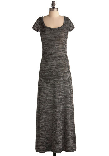 Between Stations Dress - Grey, Solid, Casual, Maxi, Short Sleeves, Long